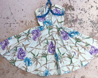1950s cotton Hawaiian Dress with crushed velvet halter straps