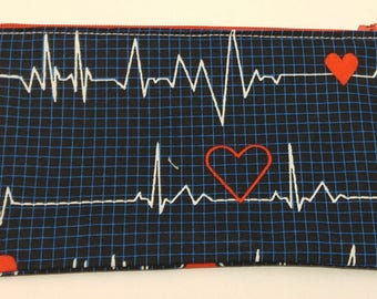 Heartthrob EKG/ECG Novelty Zipper Pouch - makeup bag; pencil case; gift for her; cosmetic bag; carry all; gadget case; birthday; bridesmaids