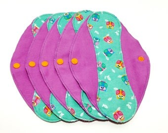 "Turquoise Owls on Purple Reusable Pantyliner with Wings (9.5"") - menstrual pad; panty liner; cloth pads; cotton; washable liner; flannel"
