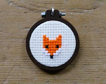 Cross Stitch Fox Brooch in Mini Wooden Hoop Frame