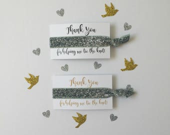 Thank You For Helping Me Tie The Knot SILVER GLITTER SPARKLE Hair Ties Bachelorette Party Favors Bridal Shower Thank You Gift Beach Wedding