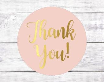 Thank You Blush Pink and Gold Favor Stickers Favour Wedding Labels Tags Wedding Bridal Shower Baby Shower Pale Pink Light Candy Buffet
