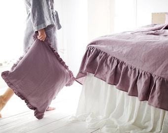 Wood rose  linen ruffled sham -15 colors-linen pillowcase- linen pillow cover- Ruffled pillow sham -Available sizes #Secret maison#