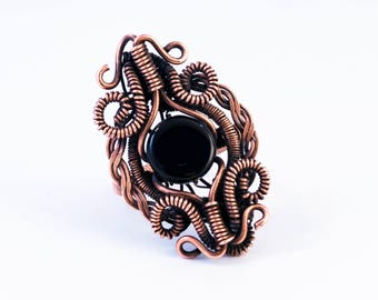 Wire Wrapped Black Onyx Ring | Wire Wrapped Onyx | Black and Copper Statement Ring |Size 9 Ring