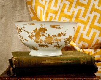 Vintage Hutschenreuther Porcelain Bowl with Gold Phoenix Design – Bird – Gilt – Fruit Bowl - Chinoiserie