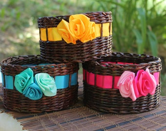 Three multi-colored baskets Storage basket Gift Boxes Farmhouse rustic Willow basket