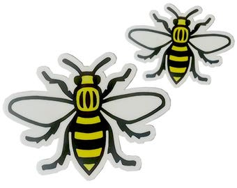 Vinyl Manchester Bee Sticker - Choose from Small or Large - Manc and Proud Worker Bee Northern Quarter Hacienda Mancunian Car Bumper Decal
