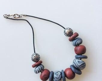 Brick and grey necklace