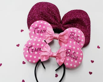 Pink Bridal Tiara, Headbands Minnie, Bachelorette Party, Team Bride, Maid of Honor, Minnie Tiara, Minnie Mouse Ears, Bridesmaid, Model Pink