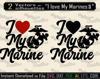I love my marine svg, vector Marines for printing, design for cutting, file svg, dxf, body of the Marina Vector file