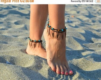 ON SALE 25%off anklets, Native American style feather bracelet summer anklets, native america indian jewelry ankle bracelet  beach anklets,