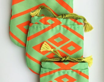 Three little pouch (Green and orange silk fabric)