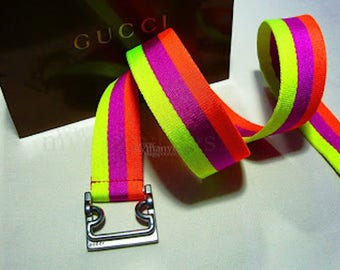 Gucci neon web belt fully adjustable! size 95 cm or  38 inches