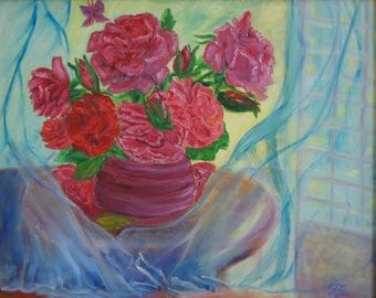 Rose Morning, original oil painting, drapes billowing in the window