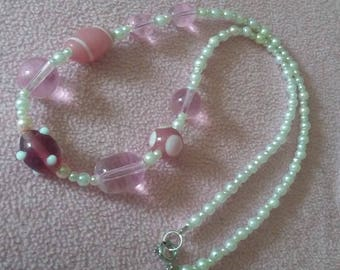 Pink Glass and Faux Pearl Necklace - Summer Beaded Necklace - Glass Beads