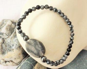 simple grey bracelet,big simple bracelet,grey bracelet,dark grey bracelet,unusual bracelets,snowflake obsidian,marble bracelet,grey hematite