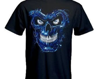 Liquid Blue Blue Terminator Skull Printed Black Cotton T shirt