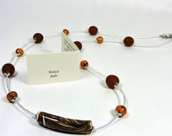 Necklace with beads and murrine in Murano glass; Handmade Murano glass necklace with Murrine