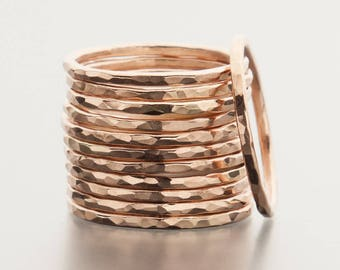 14K Rose Gold Filled Stacking Rings, Stackable Rings, Hammered Stacking Ring, Stacking Rings, Hammered 14K Gold Filled Ring, Hammered Ring
