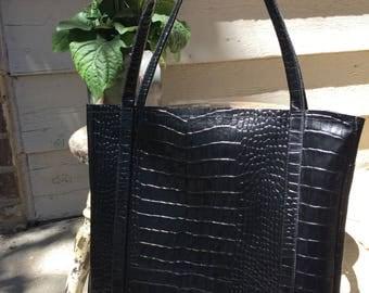 "Leather handbag* genuine leather purse* crocodile embossed cowhide* ""Kelsey"""