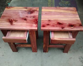 Cedar end table with drawer.