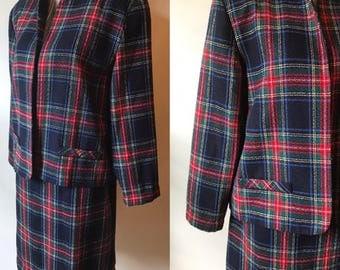 1980s Blair Boutique tartan plaid suit: skirt + blazer, size M/L