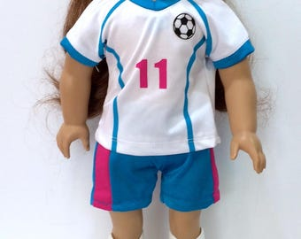 18 Inch Doll Clothes  4 Piece Turquoise /Pink  Soccer Outfit Includes Outfit Shins Guards and Ball Also Fits Like American Girl Doll Clothes