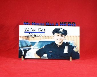 Personalized Thin Blue Line Photo Plaque
