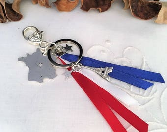 key ring or bag PARIS charm made of silver charms, ribbons, ring