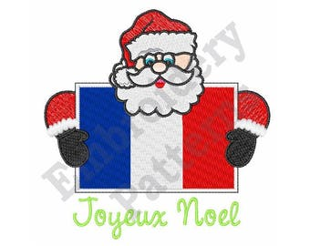 Santa With French Flag - Machine Embroidery Design