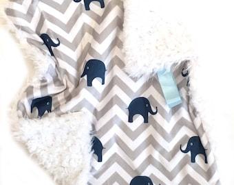 READY TO SHIP, Elephants Lovey, Baby Boy Lovey, Baby Boy Blanket, Soft Blanket, Baby Lovey, Minky Lovey