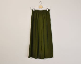 Minimal Gaucho Pants, Vintage 90s Wide Leg Pants, High Waist Pants, Olive Green Leisure Pants, Crepe Ankle Pants, Loose Summer Pants
