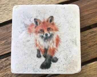 Single Fox travertine stone coasters- Handmade decoupage