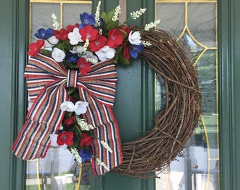 Patriotic Wreath - Patriotic Front Door Wreath - 4th of July Wreath - Independence Day Wreath - Red White and Blue Wreath