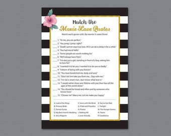 Kate Spade Match the Disney Love Songs Game, Bridal Shower Games, Gold Black White Wedding Shower, Instant Download, Love Songs Match, A014