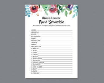 Bridal Word Scramble Game, Watercolor Floral, Unscramble The Words, Wedding Shower, Instant Download, Bachelorette Games, Quiz, A007