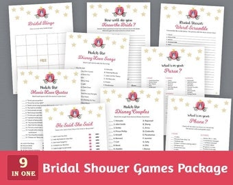 Fun Bridal Shower Games Package, Cinderella, Bridal Shower Printable, Disney Fairy Tales, Unique Games Pack, Shower Bundle, BSPKG, A012