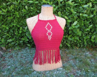 "Tank top ""geometry"" top with fringes 100% cotton handmade red / bordeaux"