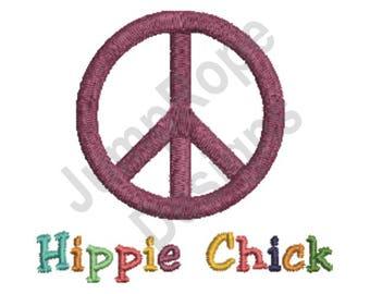 Hippie Chick Peace - Machine Embroidery Design