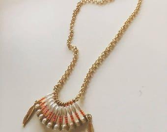 "Unique necklace, ""navajo"" style, retro Cappadocia with bicycle, glass beads"