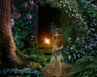 Fairy tale, Digital background, backdrop, house in the woods, enchanted, fantasy, children,stock