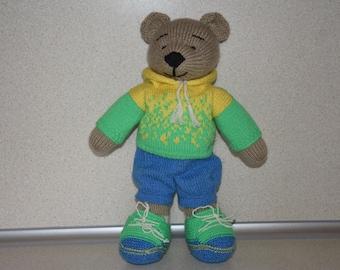 Knitted bear toy  Soft bear toy Animal nursery bear Stuffed animal zoo Gift knitted bear Stuffed animal bear Handmade bear toy Animal bear