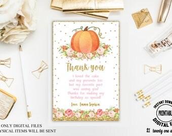 Pumpkin Thank you Card, Birthday Thank you Card, Birthday Thank you Card, Pumpkin Thank you Card, Printable Digitale File