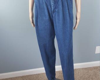 Vintage 80s Liz Wear High Waisted Dark Wash Denim Tapered Mom Jeans XS 26 27