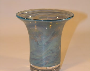 Blue Green Wavy Hand Blown Glass Vase
