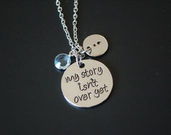 My story isn't over yet semi colon necklace mental health awareness