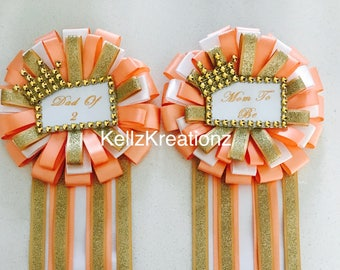 Peach gold and white mom to be or dad to be baby shower pins