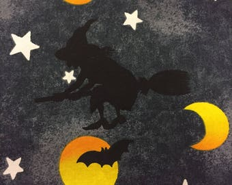 Halloween Fabric Witches Moons Stars Bats Cotton By The Yard 36 Inches Long