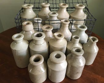 Antique English Stoneware Crocks and Ink Bottles