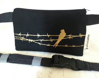 Bird on the wire - gold on black - belt bag